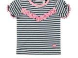 Baby Girls T-shirt s/s y/d stripe + ruffles blue stripe