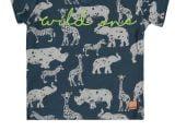 Baby Boys T-shirt s/s V-neck allover print WILD ONE blue aop