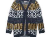 D36026-45 Long cardigan  Navy + off white + yellow