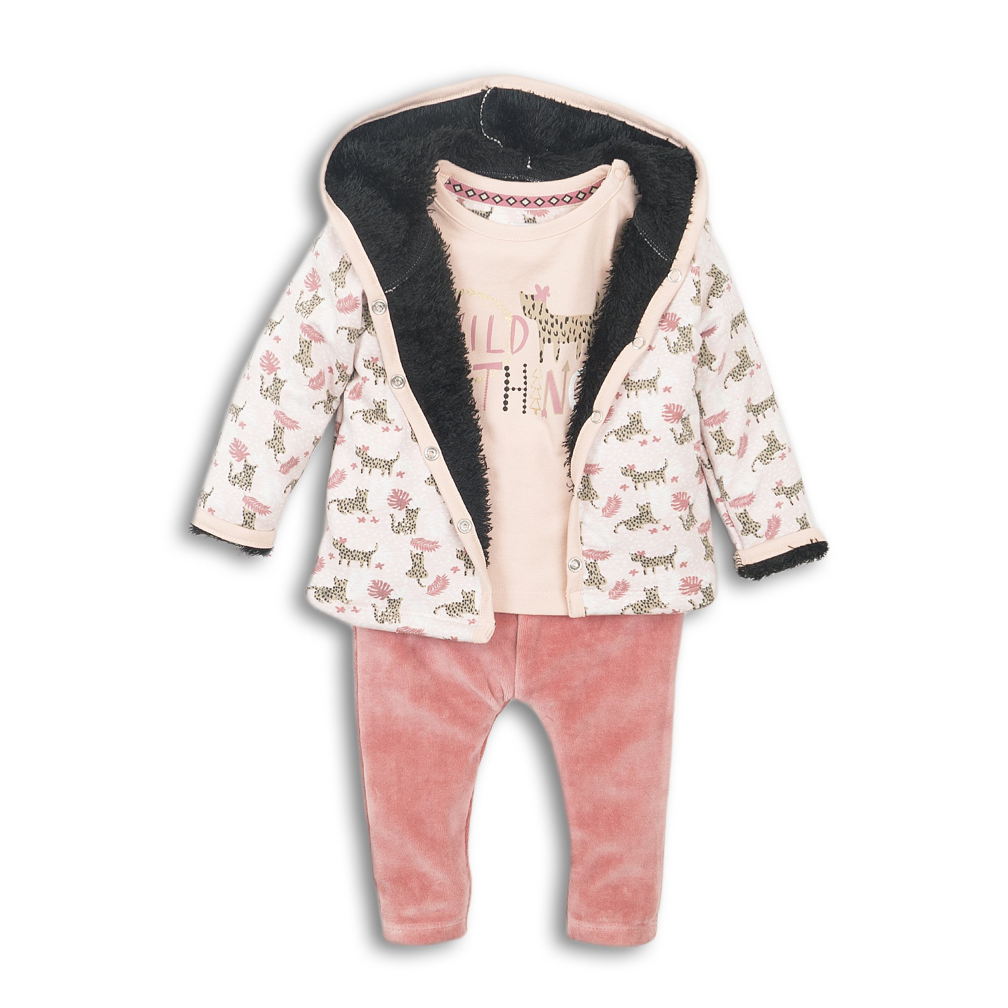 D36305-31 3 pce Babysuit  Faded peach + dark old pink