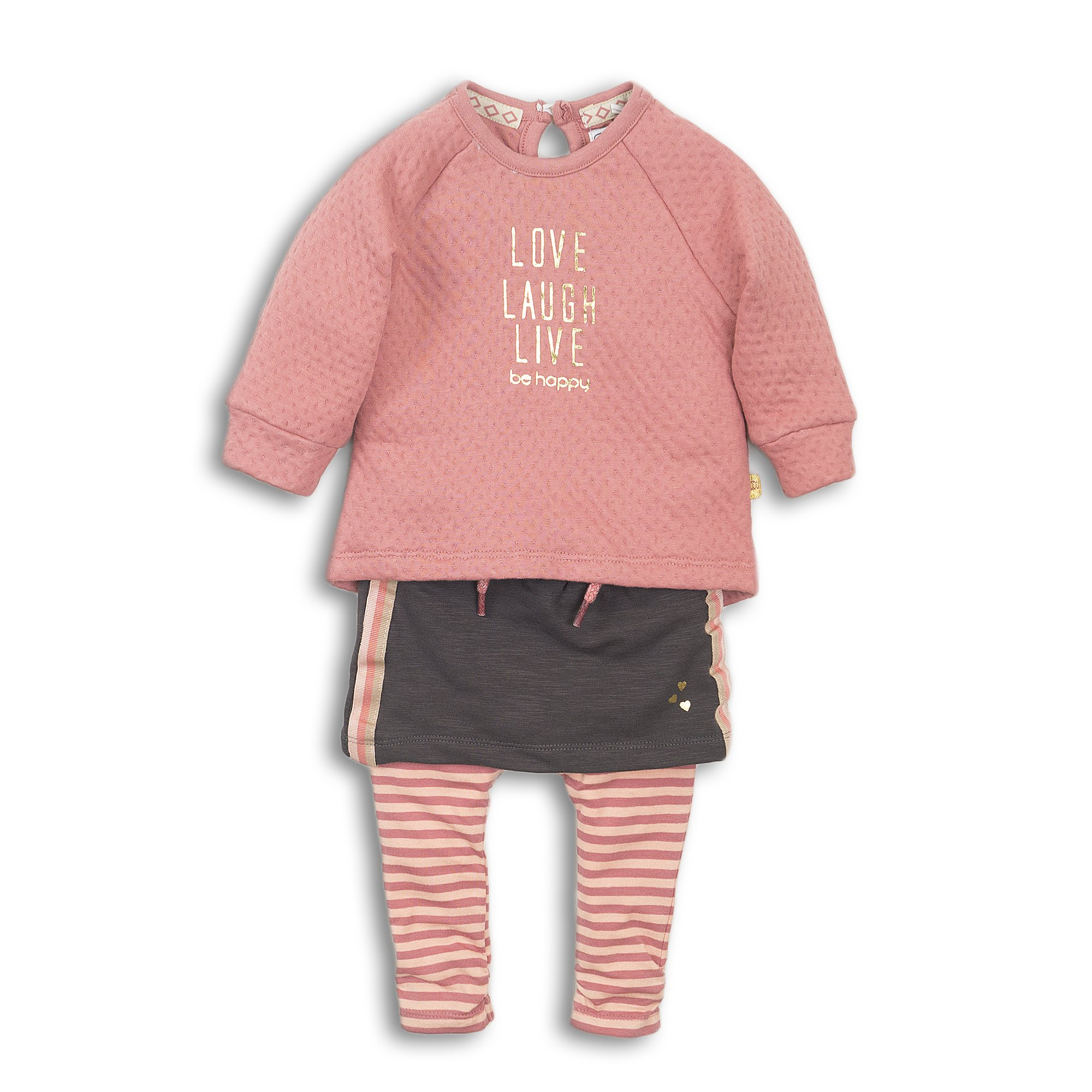 D36307-31 2 pce Babysuit Old pink + brown