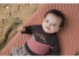D36308-31 2 pce Babysuit dress  Dark brown + dark old pink + aop