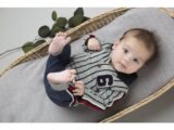 D36553-31 2 pce Babysuit  Grey melee + red + navy