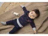 D36601-31 2 pce Babysuit + scarf  Navy + grey melee + aop