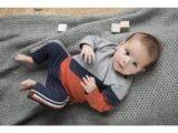 D36608-31 2 pce Babysuit  Mid blue + rusty orange + grey melee