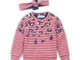 D36370-35 Baby sweater + headband  Red + pink